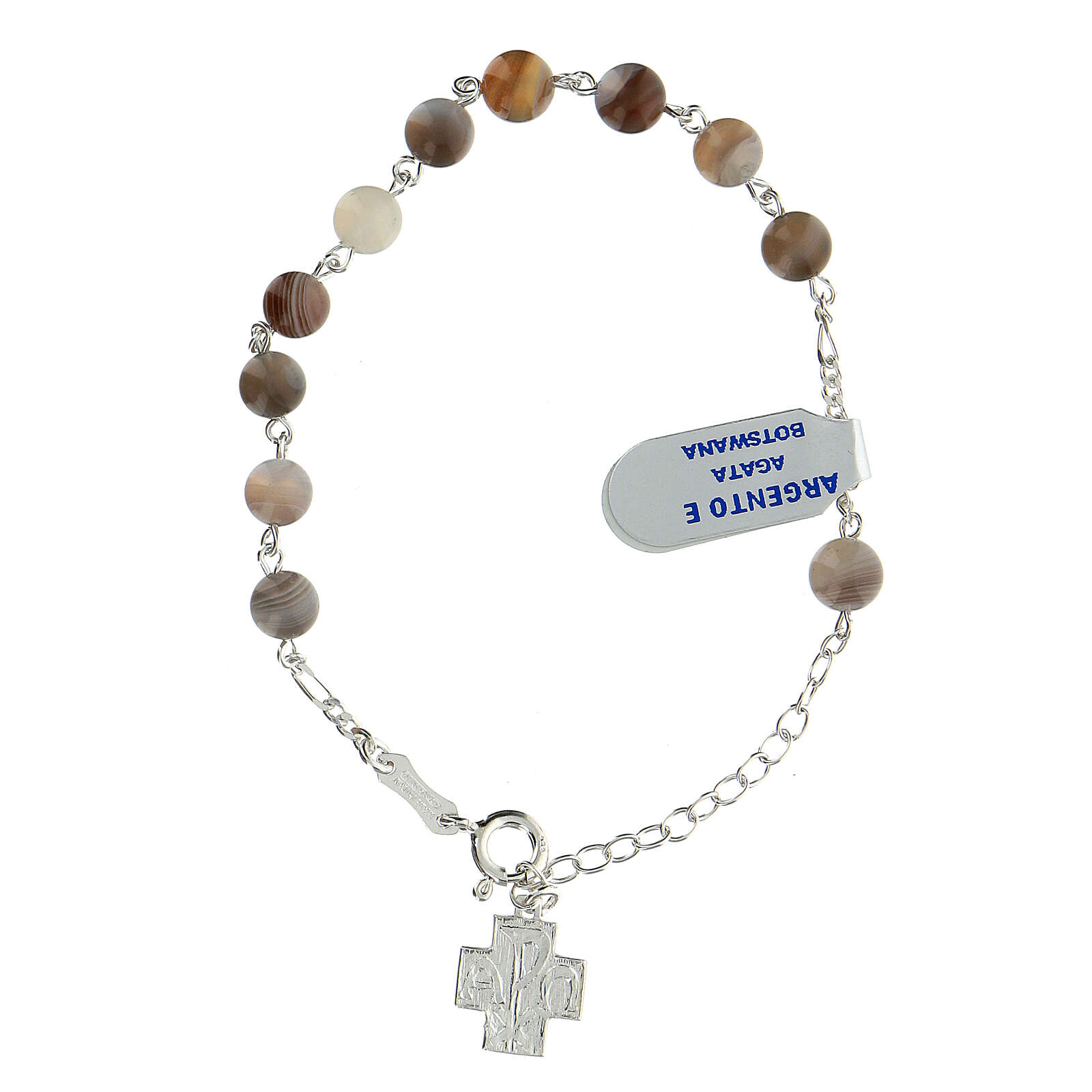 Bracelet dizainier grains agate botswana 6 mm argent sterling croix Chi-Rho 4