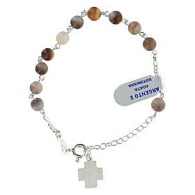Bracelet dizainier grains agate botswana 6 mm argent sterling croix Chi-Rho s2