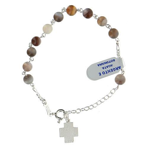 Bracelet dizainier grains agate botswana 6 mm argent sterling croix Chi-Rho 2