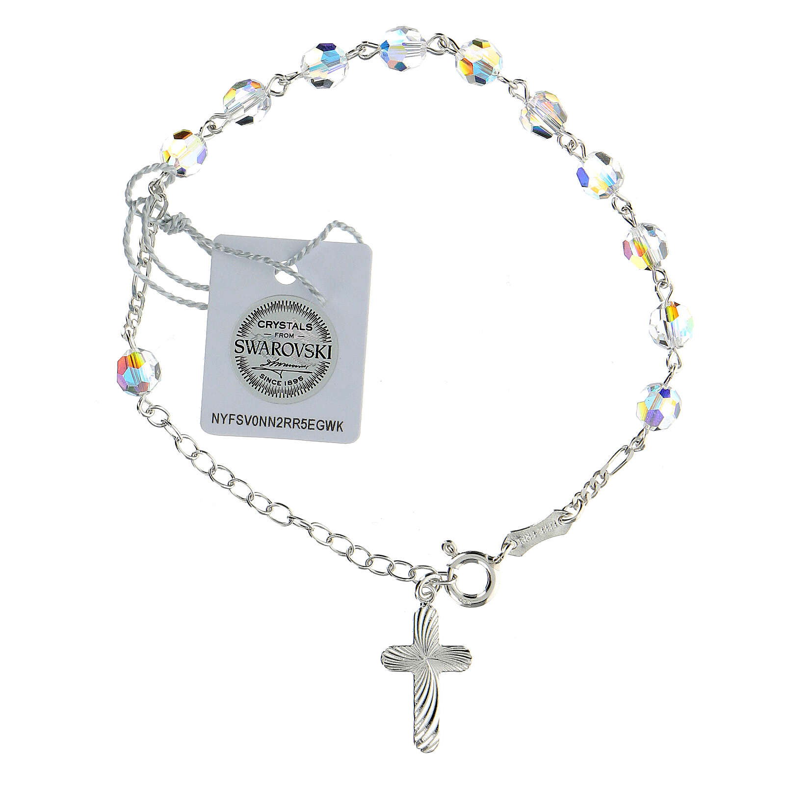 Single decade rosary bracelet Swarovski white 6 mm spiral cross 925 silver 4