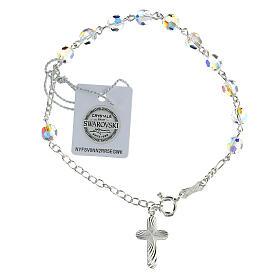Single decade rosary bracelet Swarovski white 6 mm spiral cross 925 silver s1