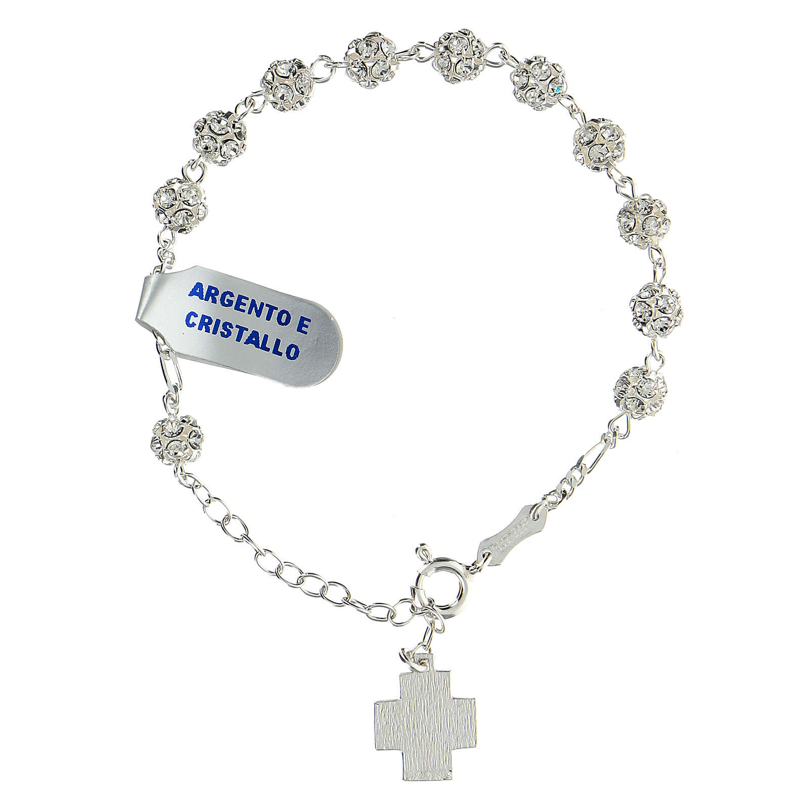 Bracelet argent sterling strassball 6 mm croix Chi-Rho 4
