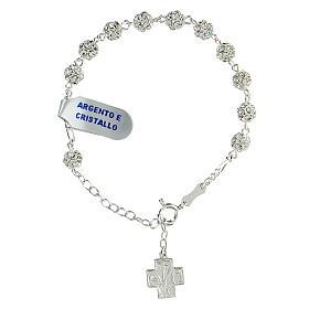 Bracelet argent sterling strassball 6 mm croix Chi-Rho s1