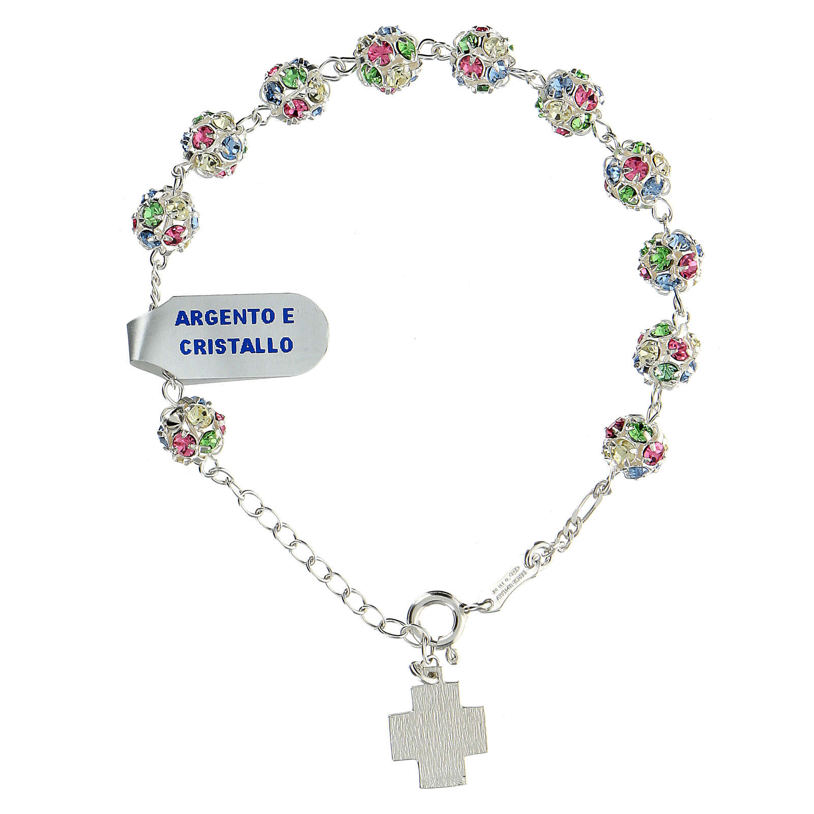 Strassball rosary bracelet with multi-color crystal beads 8 mm sterling silver 4