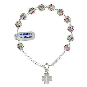 Strassball rosary bracelet with multi-color crystal beads 8 mm sterling silver s1