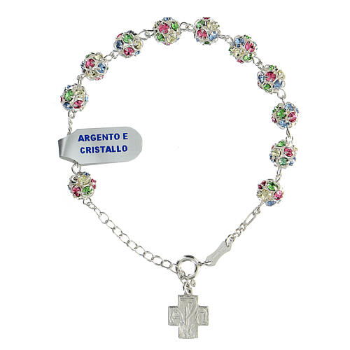 Strassball rosary bracelet with multi-color crystal beads 8 mm sterling silver 1