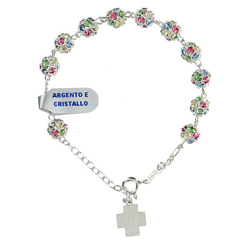 Strassball rosary bracelet with multi-color crystal beads 8 mm sterling silver 2