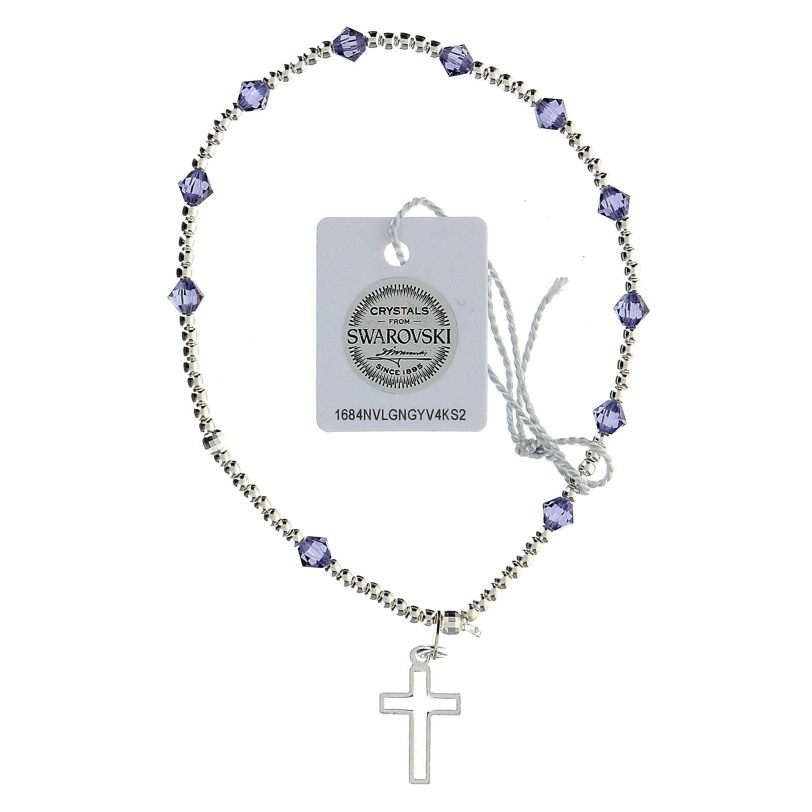 Pulsera cristales Swarovski violeta 4 mm cruz perforada plata 925 4