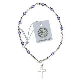 Pulsera cristales Swarovski violeta 4 mm cruz perforada plata 925 s2