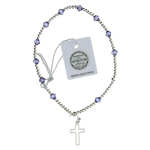 Pulsera cristales Swarovski violeta 4 mm cruz perforada plata 925 2