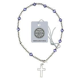Bracciale cristalli Swarovski viola 4 mm croce traforata argento 925 s1