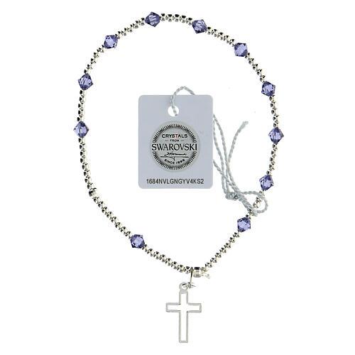Bracciale cristalli Swarovski viola 4 mm croce traforata argento 925 1
