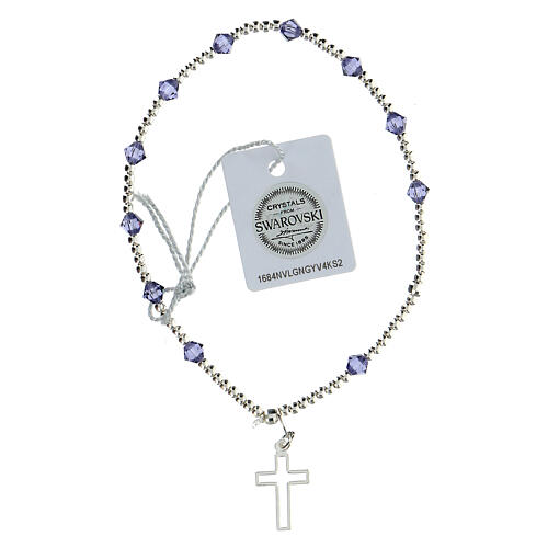 Bracciale cristalli Swarovski viola 4 mm croce traforata argento 925 2