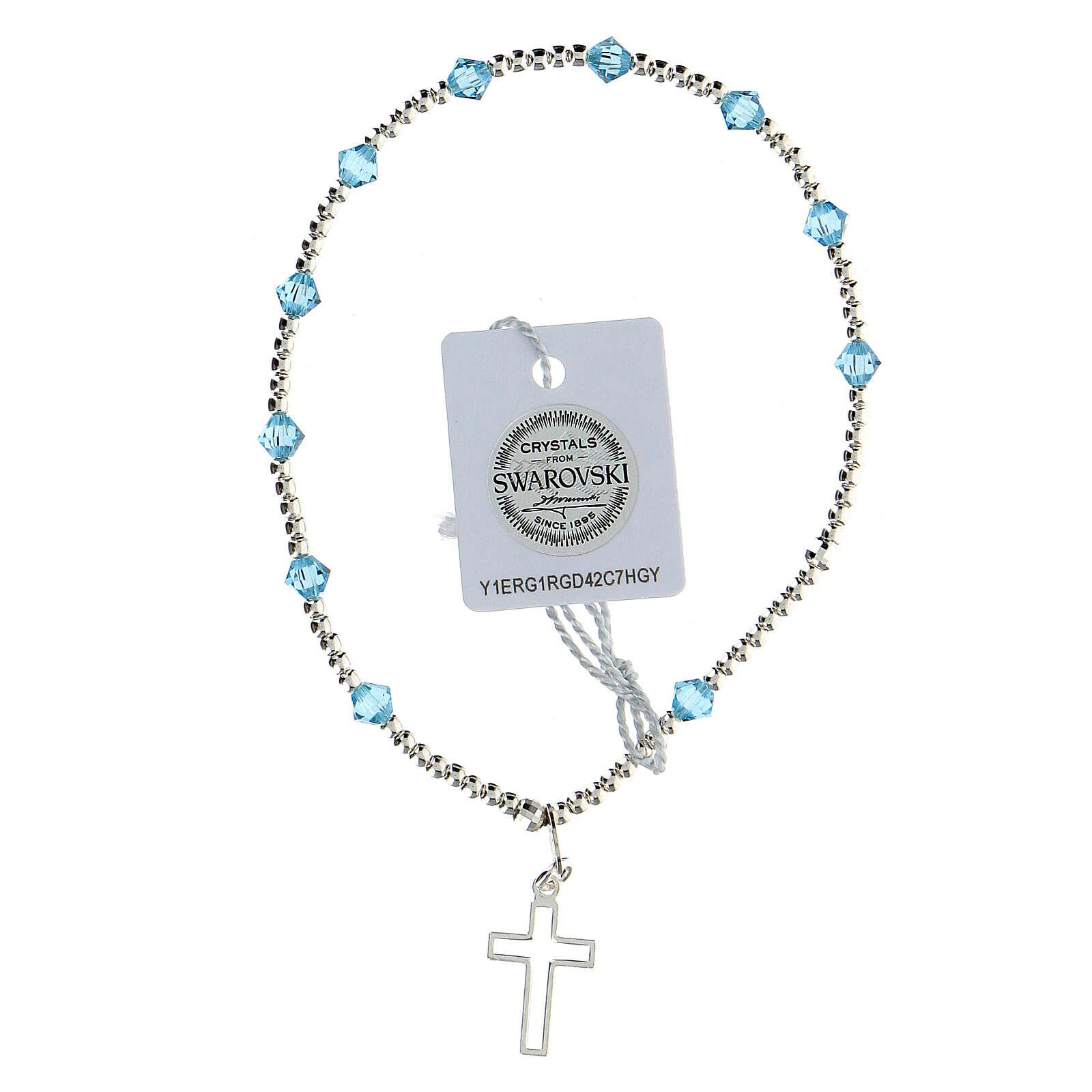 Bracelet argent 925 grains Swarovski bleus clairs 4 mm croix ajourée 4
