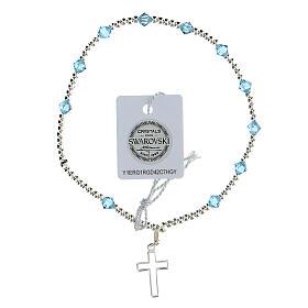 Bracelet argent 925 grains Swarovski bleus clairs 4 mm croix ajourée s1