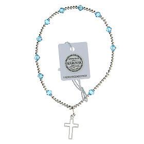 Bracelet argent 925 grains Swarovski bleus clairs 4 mm croix ajourée s2