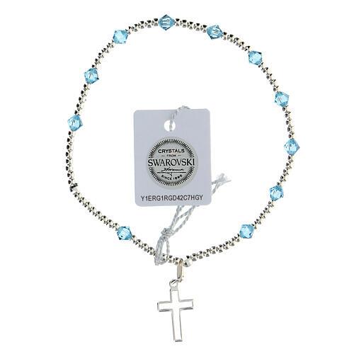 Bracelet argent 925 grains Swarovski bleus clairs 4 mm croix ajourée 1