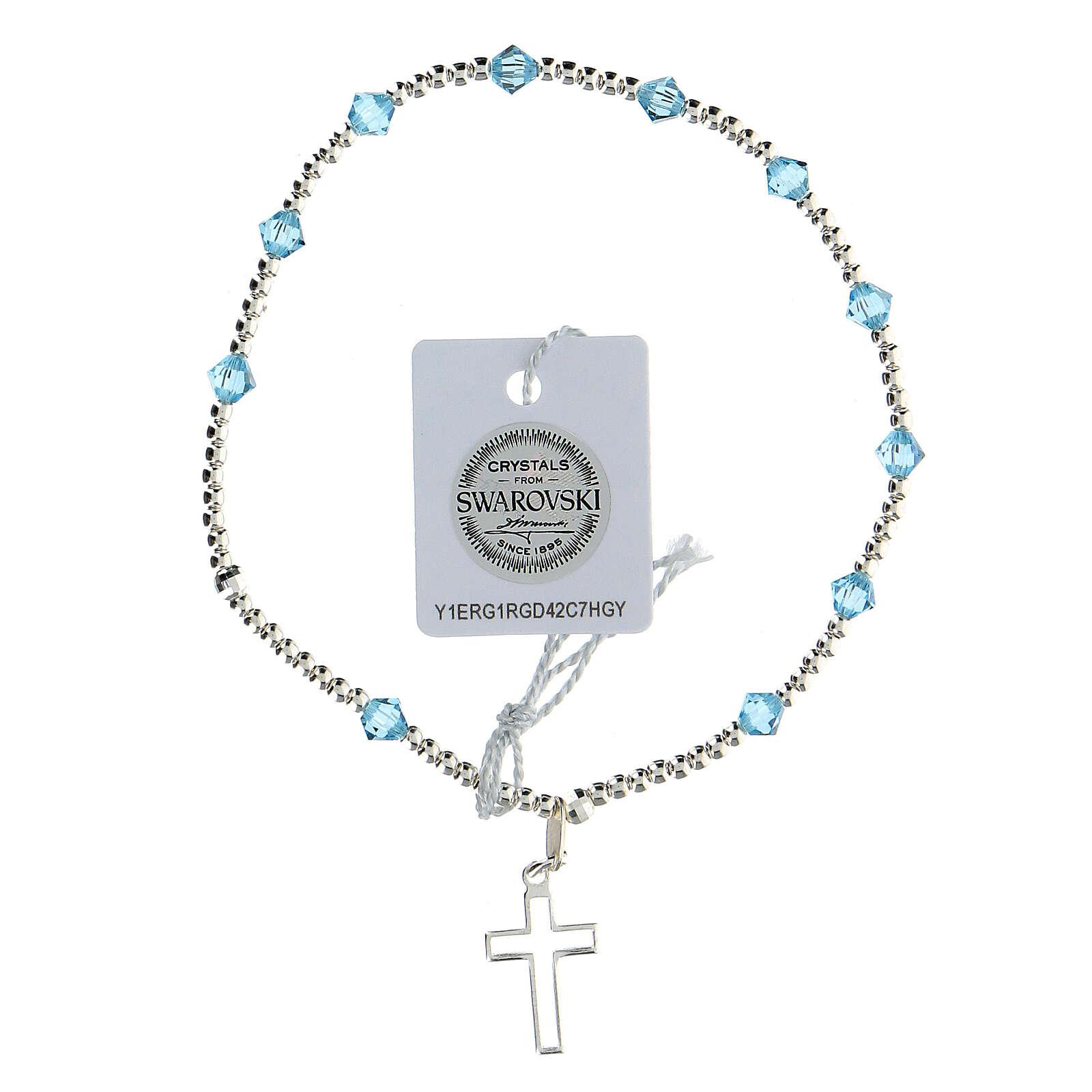 Bracciale argento 925 grani Swarovski azzurri 4 mm 4