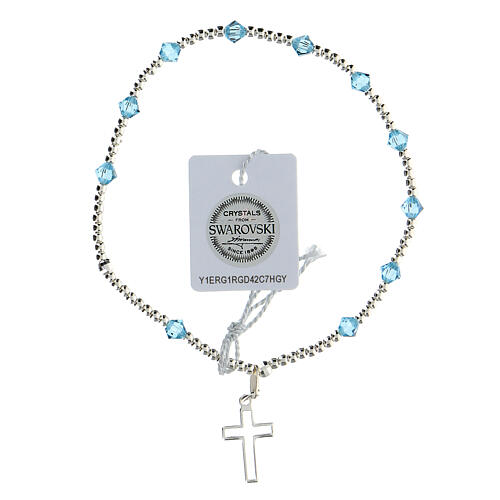 Bracciale argento 925 grani Swarovski azzurri 4 mm 1