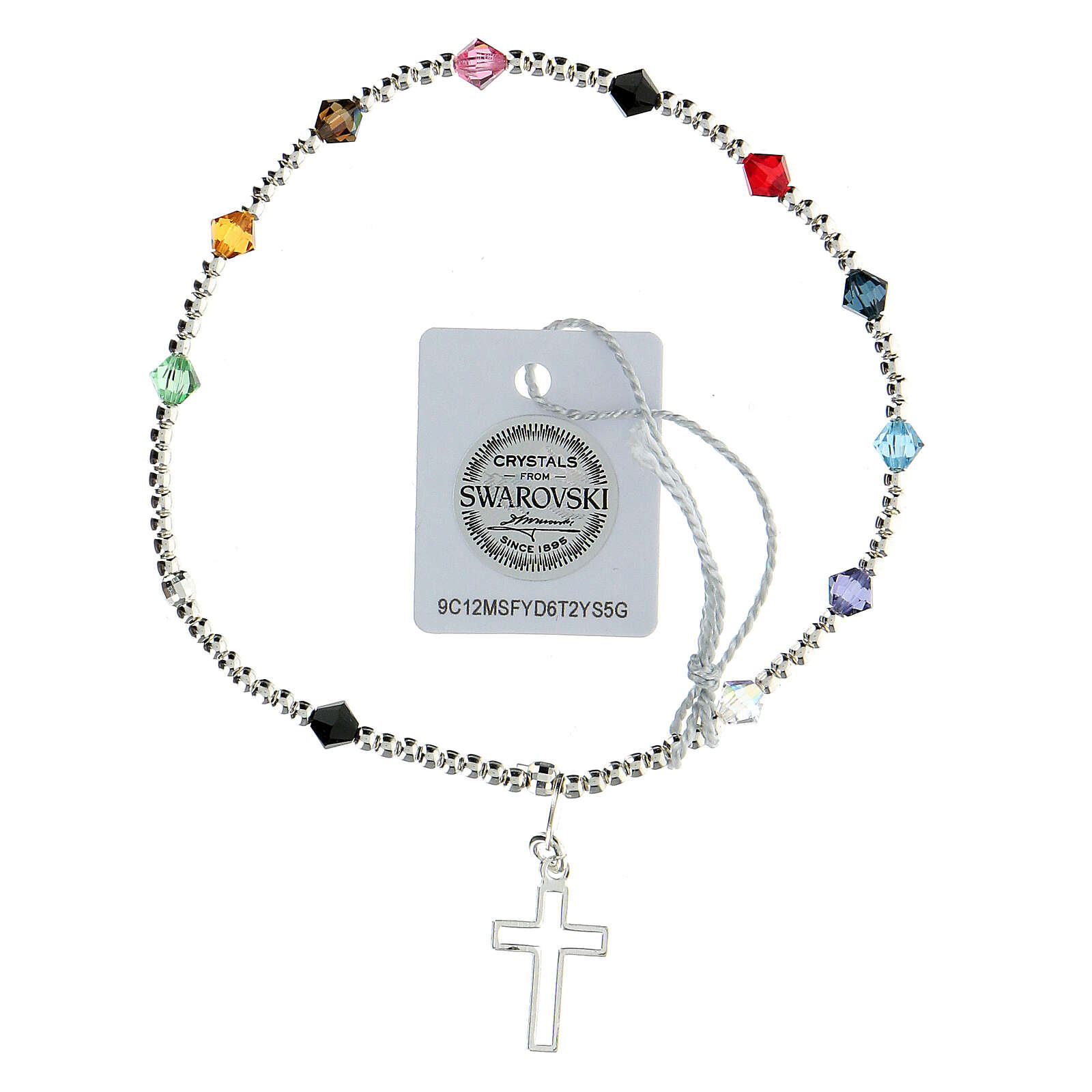 Decade rosary bracelet with sterling silver cross multi-color Swarovski 4 mm crystals 4