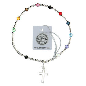 Decade rosary bracelet with sterling silver cross multi-color Swarovski 4 mm crystals s1
