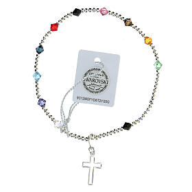 Decade rosary bracelet with sterling silver cross multi-color Swarovski 4 mm crystals s2