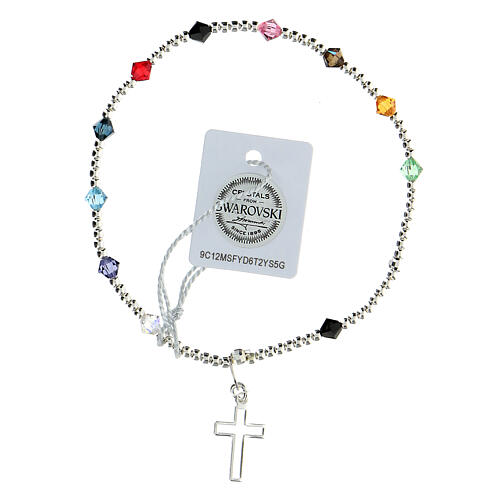 Decade rosary bracelet with sterling silver cross multi-color Swarovski 4 mm crystals 2