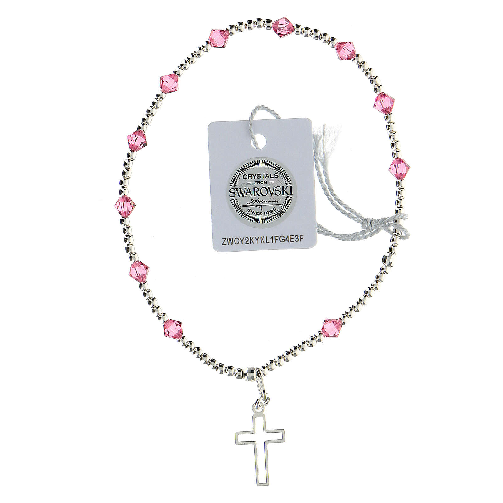 Bracelet argent 925 grains Swarovski roses 4 mm croix ajourée 4