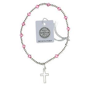 Bracelet argent 925 grains Swarovski roses 4 mm croix ajourée s1