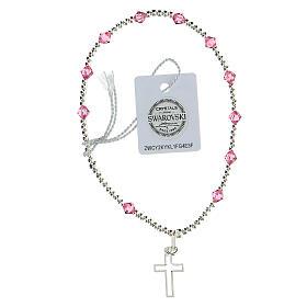 Bracelet argent 925 grains Swarovski roses 4 mm croix ajourée s2