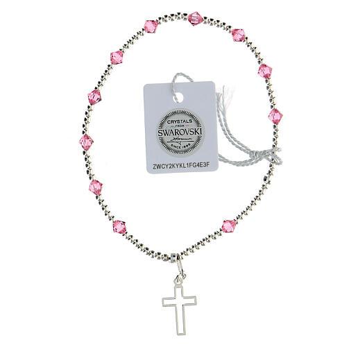 Bracelet argent 925 grains Swarovski roses 4 mm croix ajourée 1