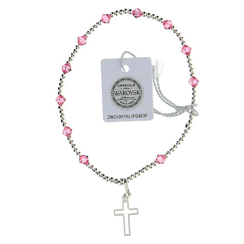 Bracciale Swarovski rosa 4 mm argento 925 croce latina 1