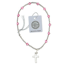 Pink Swarovski bracelet 4 mm with 925 silver Latin cross s2