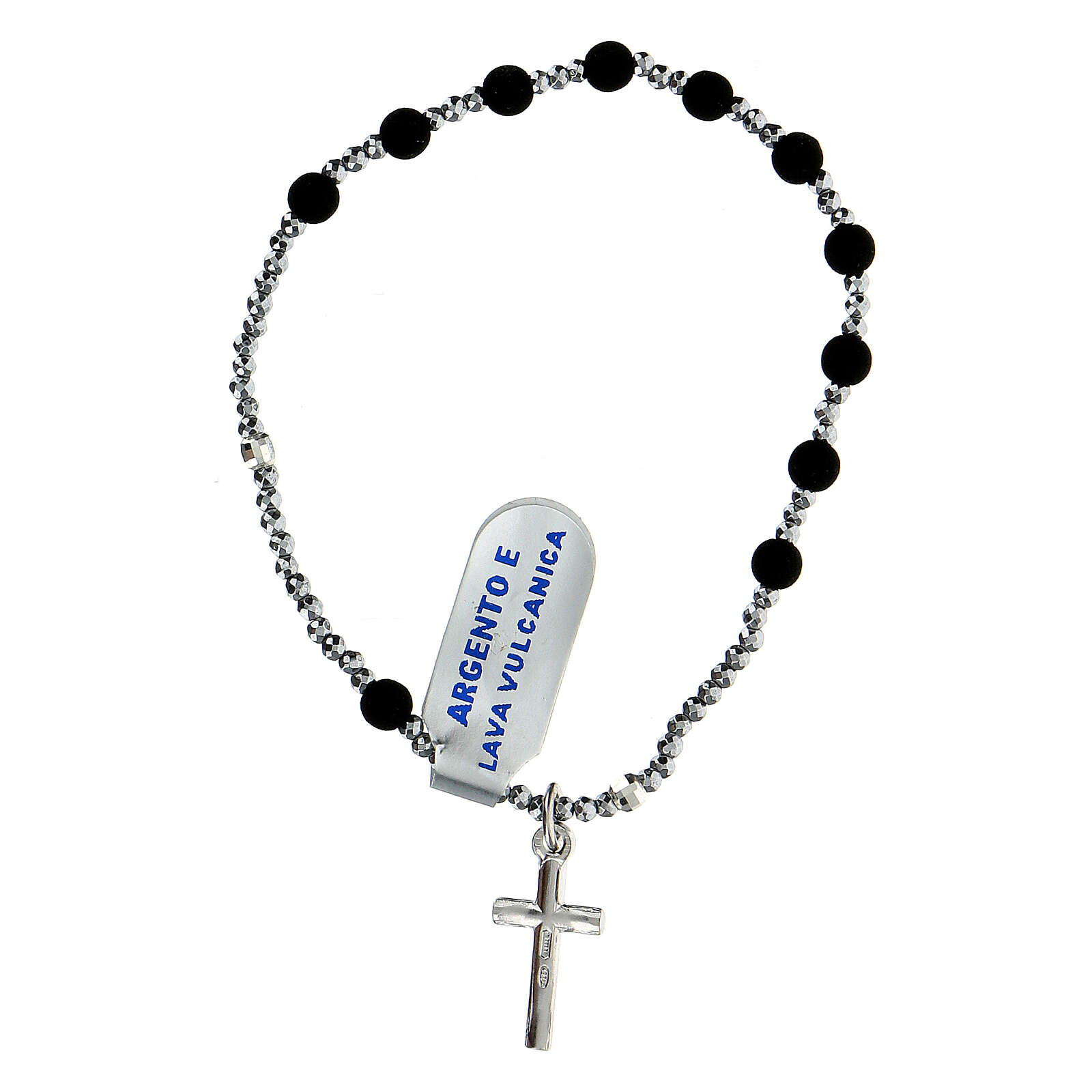 Elastic rosary bracelet volcanic lava beads 4mm hematite 925 silver 4