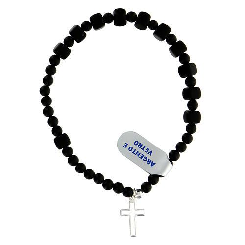 Bracelet élastique onyx verre grains 6x6 mm argent 925 2