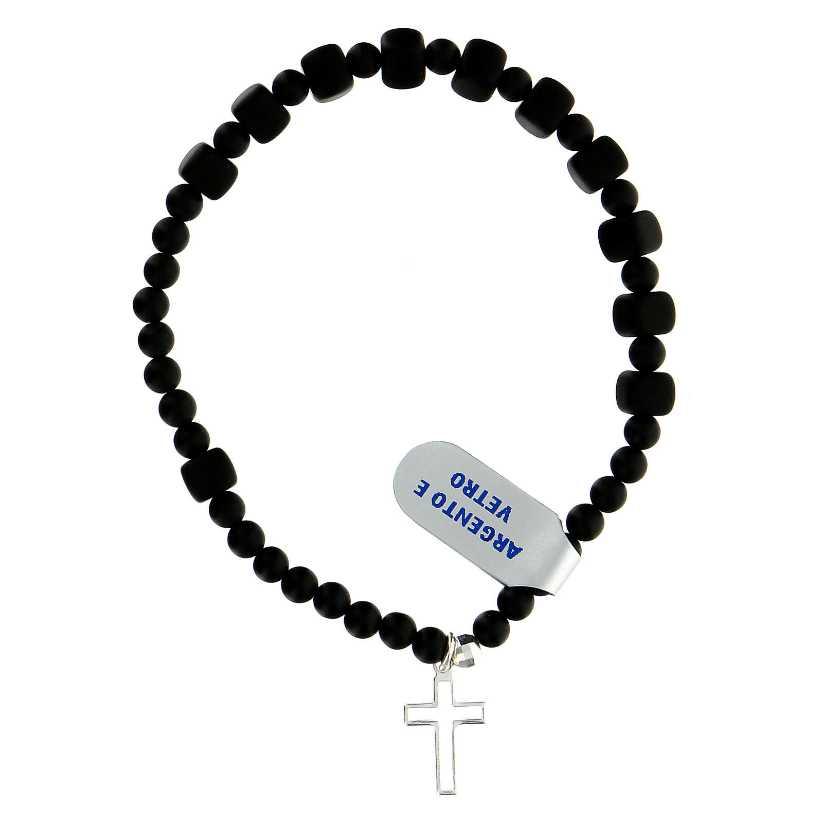 Elastic decade rosary bracelet in onyx glass beads 6x6 mm 925 silver 4