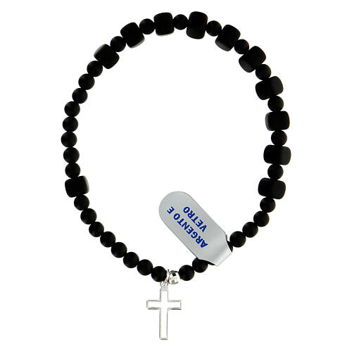 Elastic decade rosary bracelet in onyx glass beads 6x6 mm 925 silver 1