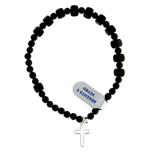 Elastic decade rosary bracelet in onyx glass beads 6x6 mm 925 silver 2