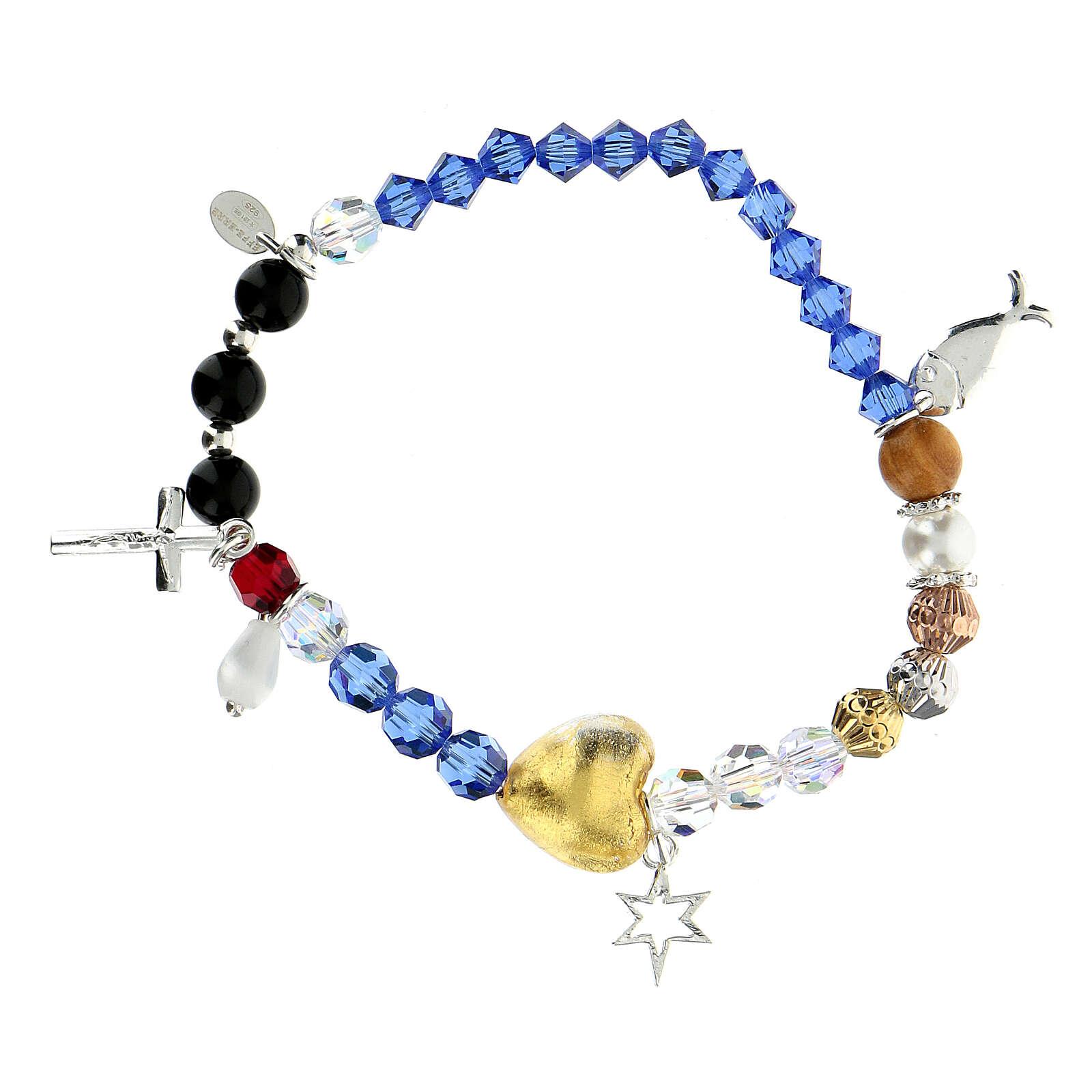 Bracelet élastique Vie de Jésus multicolore argent 925 4