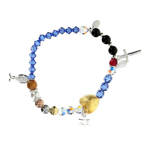 Bracelet élastique Vie de Jésus multicolore argent 925 2
