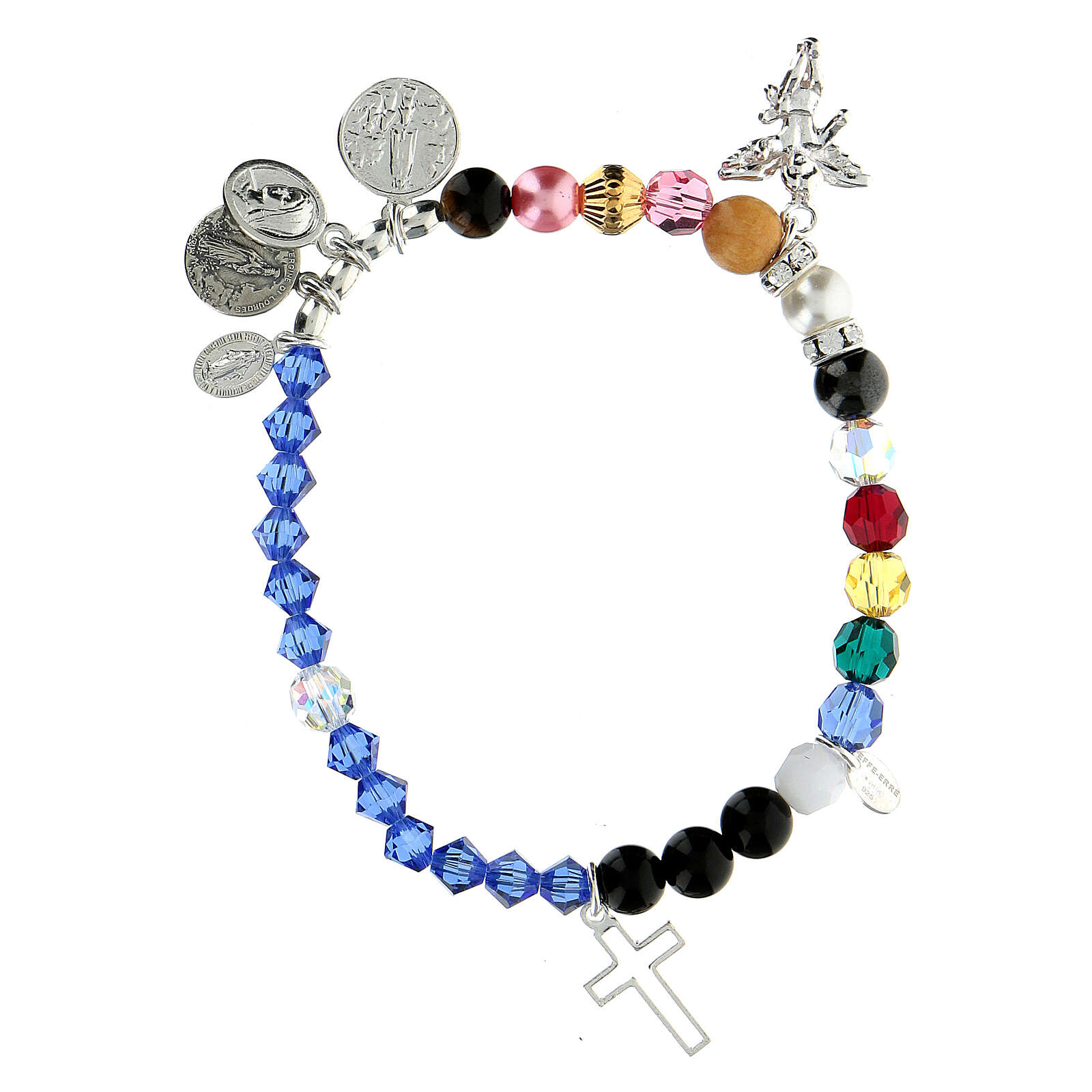 Sterling silver bracelet Life of Mary crystal hard stones 4