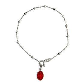Pulseira Medalha Milagrosa e Santa Rita esmalto vermelho prata 925