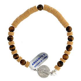 Pulseira contas de gema olho de tigre e discos de goma amarela com medalha São Bento prata 925