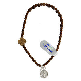 Pulseira contas hematita castanha e madeira com medalha São Bento de prata 925
