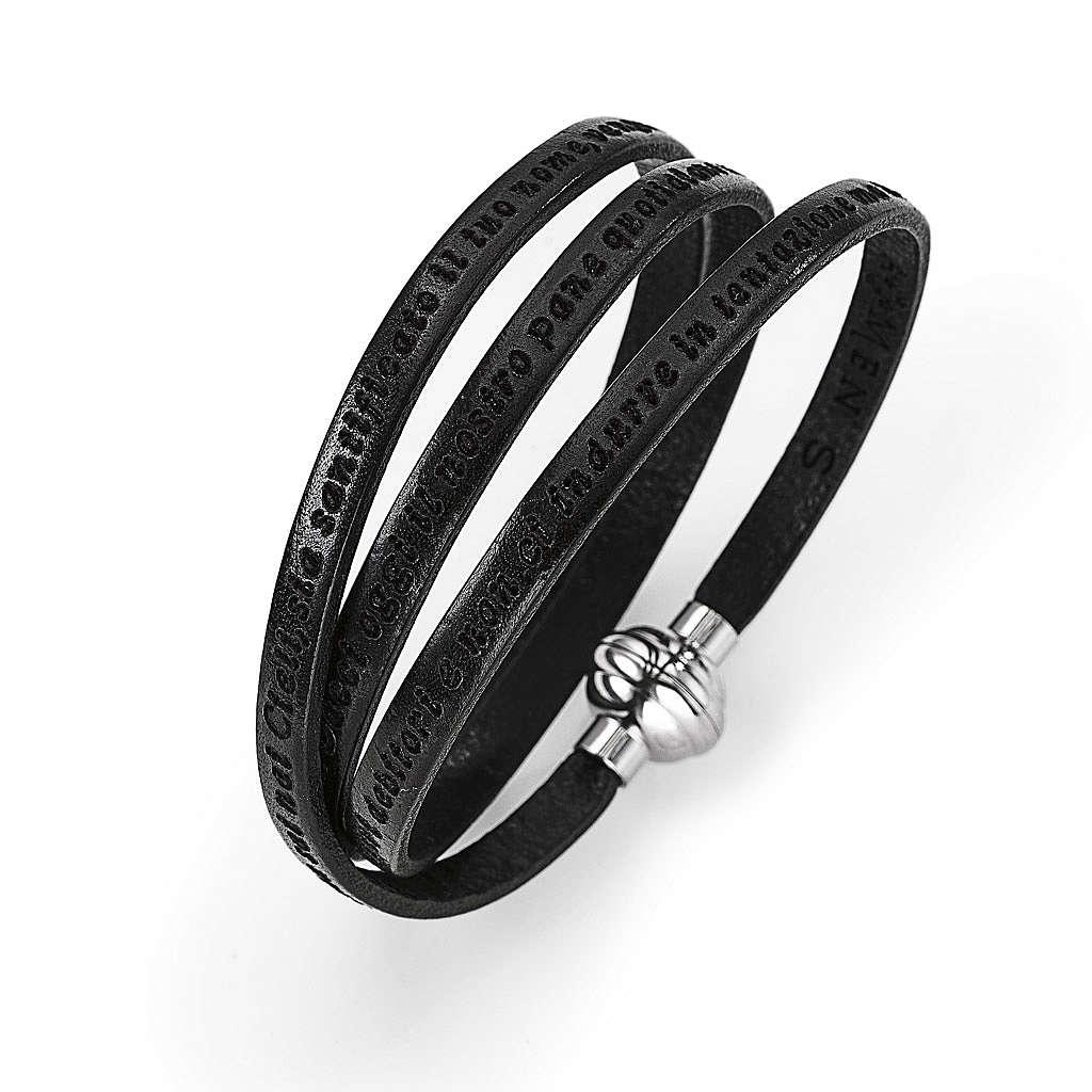Bracelet Amen Notre Père noir ITA 4