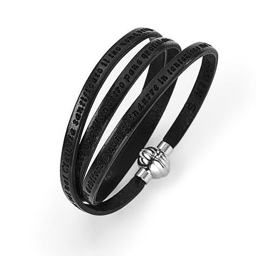Bracelet Amen Notre Père noir ITA 1