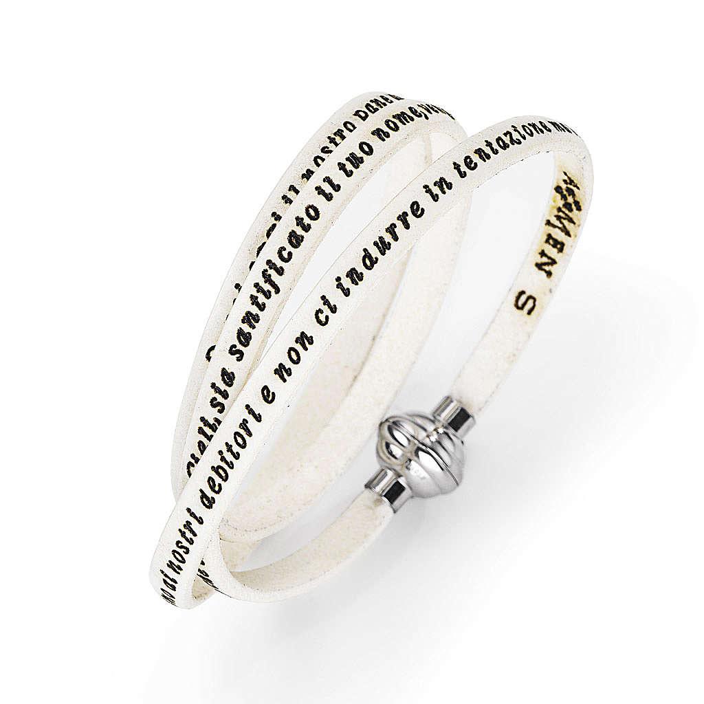 Amen Bracelet in white leather Our Father ITA 4