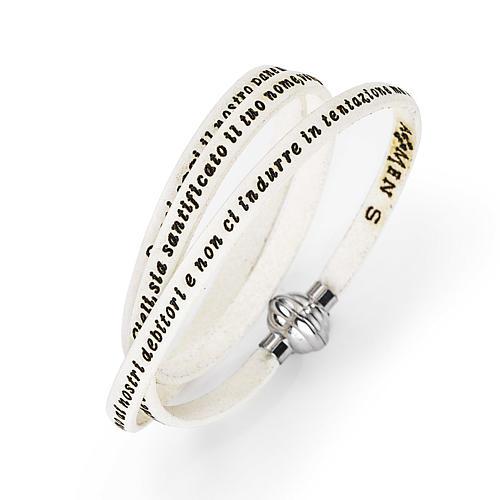 Amen Bracelet in white leather Our Father ITA 1