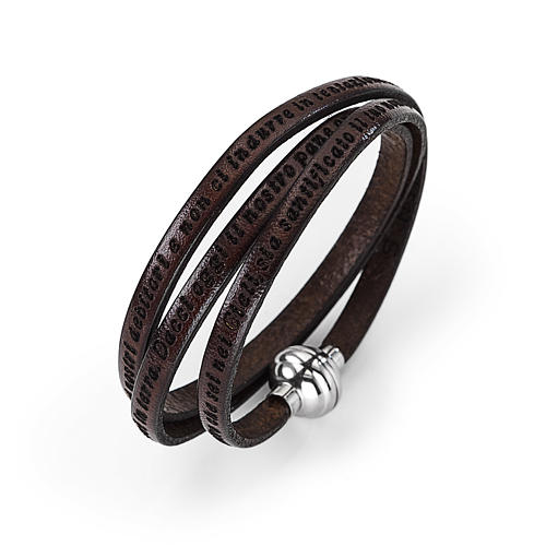 Amen Bracelet in brown leather Our Father ITA 1