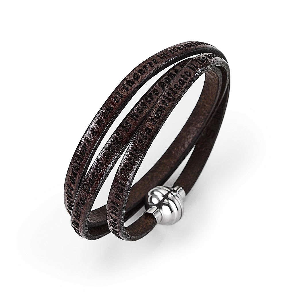Bracelet Amen Notre Père marron ITA 4